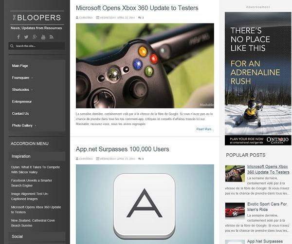 Chia sẻ template blogspot Bloopers cho trang games