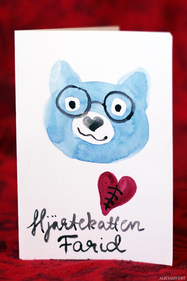 aliciasivert, alicia sivertsson, alicia sivert, hjärtekatt, hjärtekatten farid, akvarell, målning, kort, katt, hjärta, hjärte, hjärtfel, hantverk, handarbete