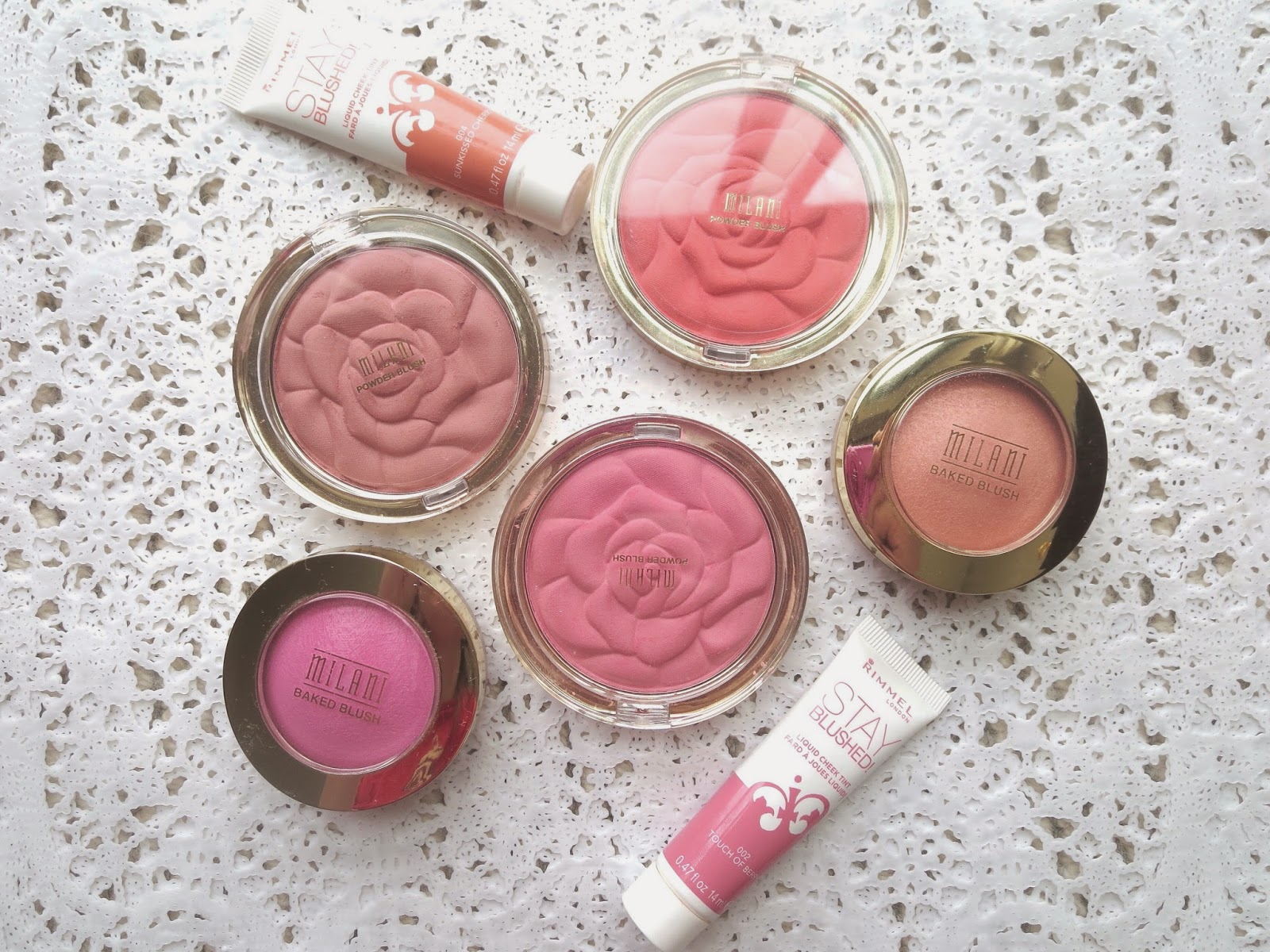a picture of the best drugstore blushes ; Milani Rose Powder Blush, Milani Baked Blush, Rimmel Stay Blushed
