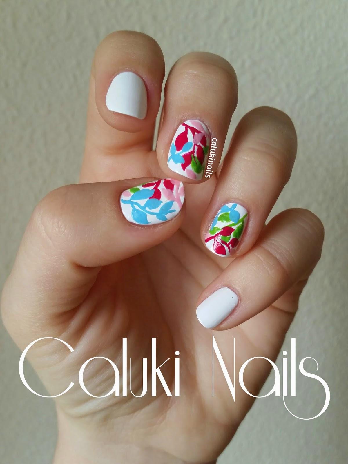 Caluki Nails : Nail art Hojas de Primavera | Marble de IsaDora