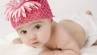 Cute Little Baby Boy With Pink Flower Hat HD Wallpaper
