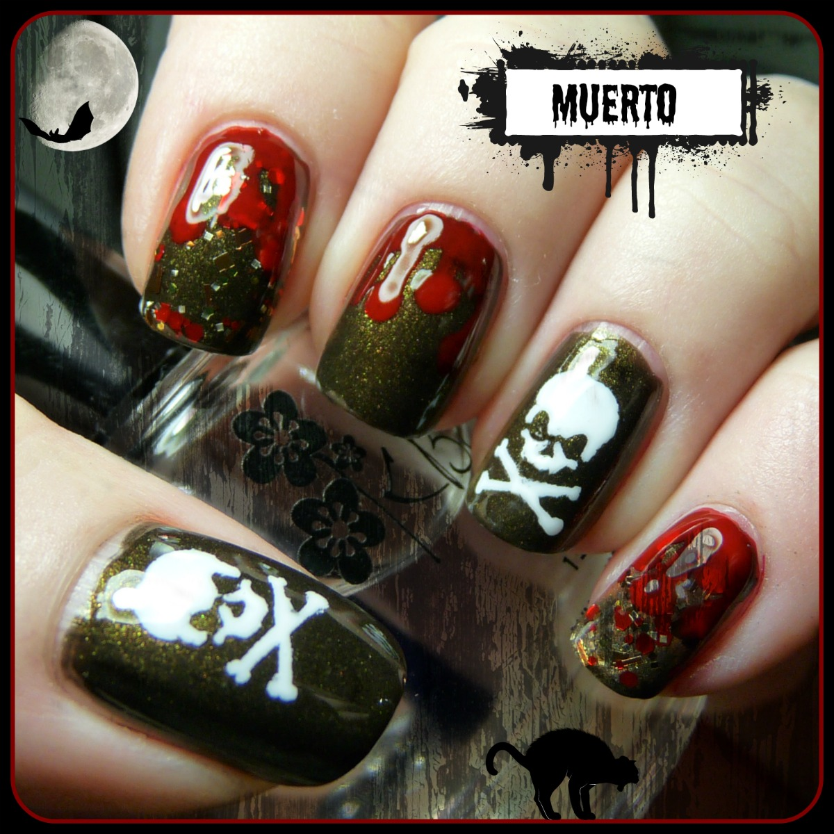Halloween nail art skulls pointless cafe a base with sinful colors sinfulshine mirror mirror for the blood and milani french white for the skulls remember the revlon nail stencils from last prinsesfo Choice Image
