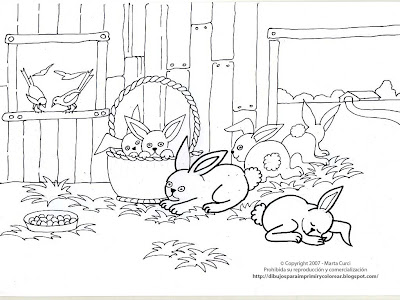 LAMINAS PARA COLOREAR - COLORING PAGES: Animales de Granja para Colorear