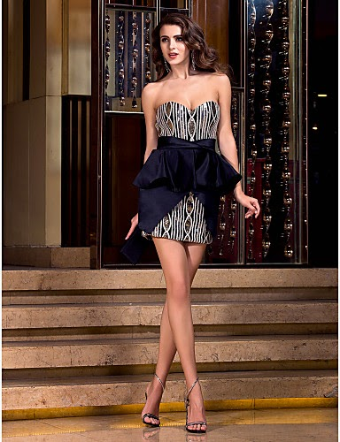 Sheath/Column Sweetheart Short/Mini Satin Cocktail Dresses