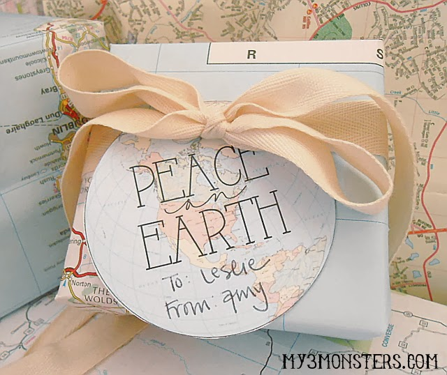 """Peace on Earth"" Holiday Giftwrap Idea at my3monsters.com"