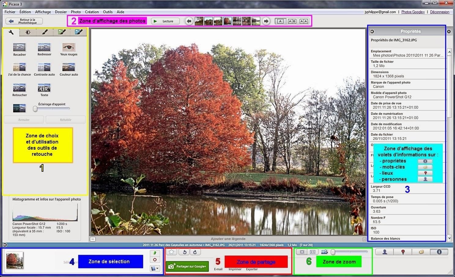 Picasa en bref les zones de l 39 cran du centre de retouche for Ecran photo retouche
