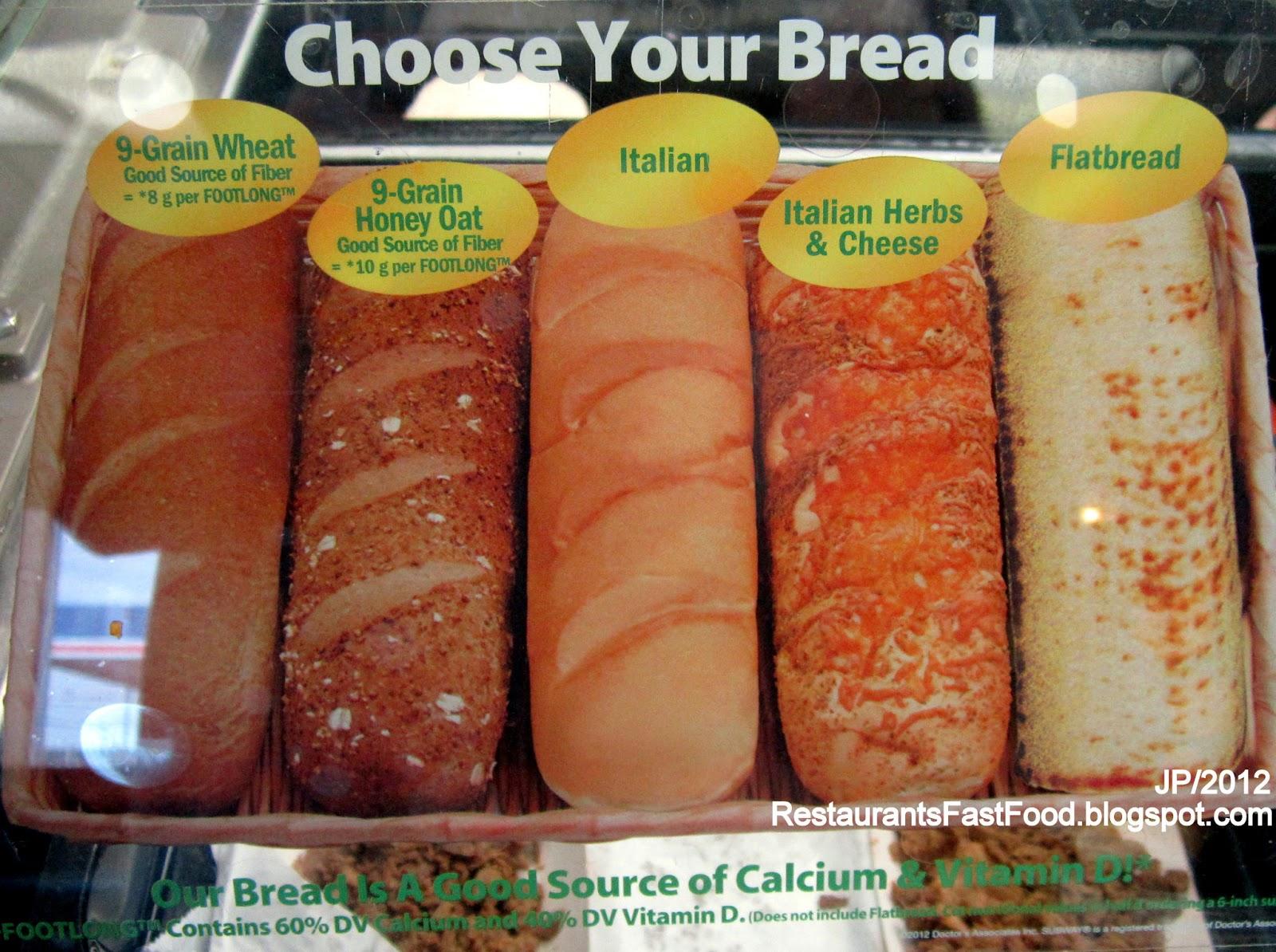 Subway Subs Bread Choice Menu
