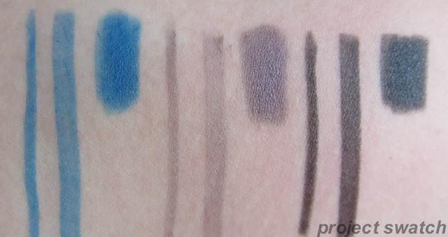 MUA 3-in-1 Contour Pen; Sea Blue, Smoked Purple, Black swatches