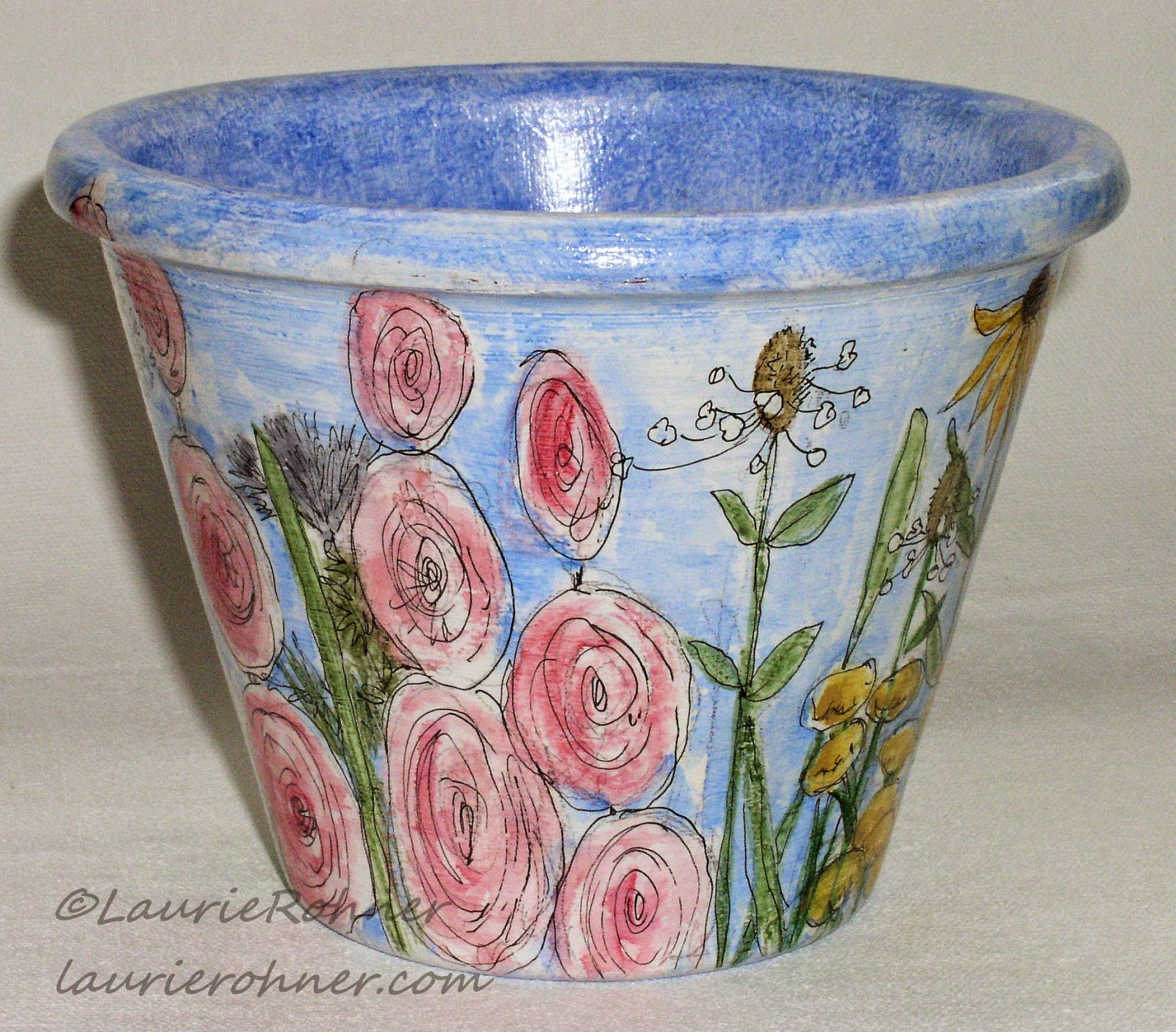 hand painted garden pots and more.