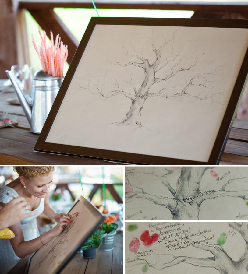 Libro de firmas árbol con huellas