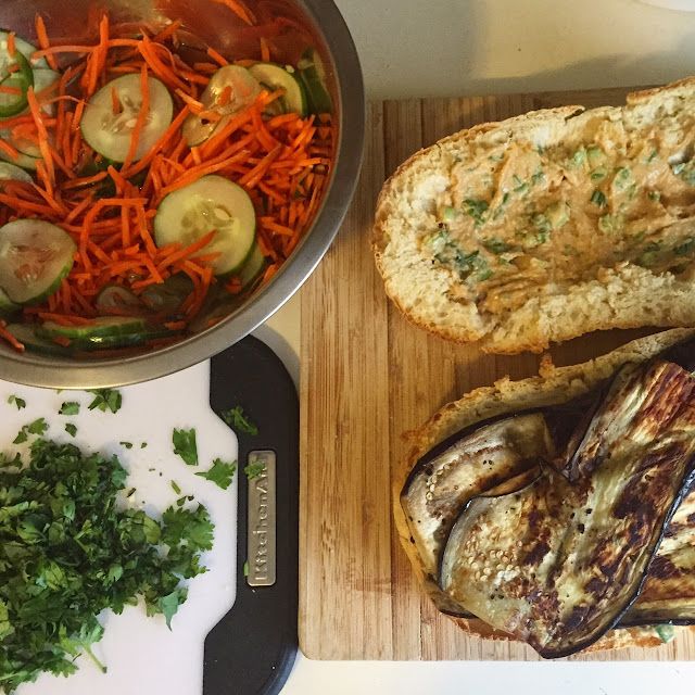 Pickled veggies, seared eggplant, soynut butter-miso spread