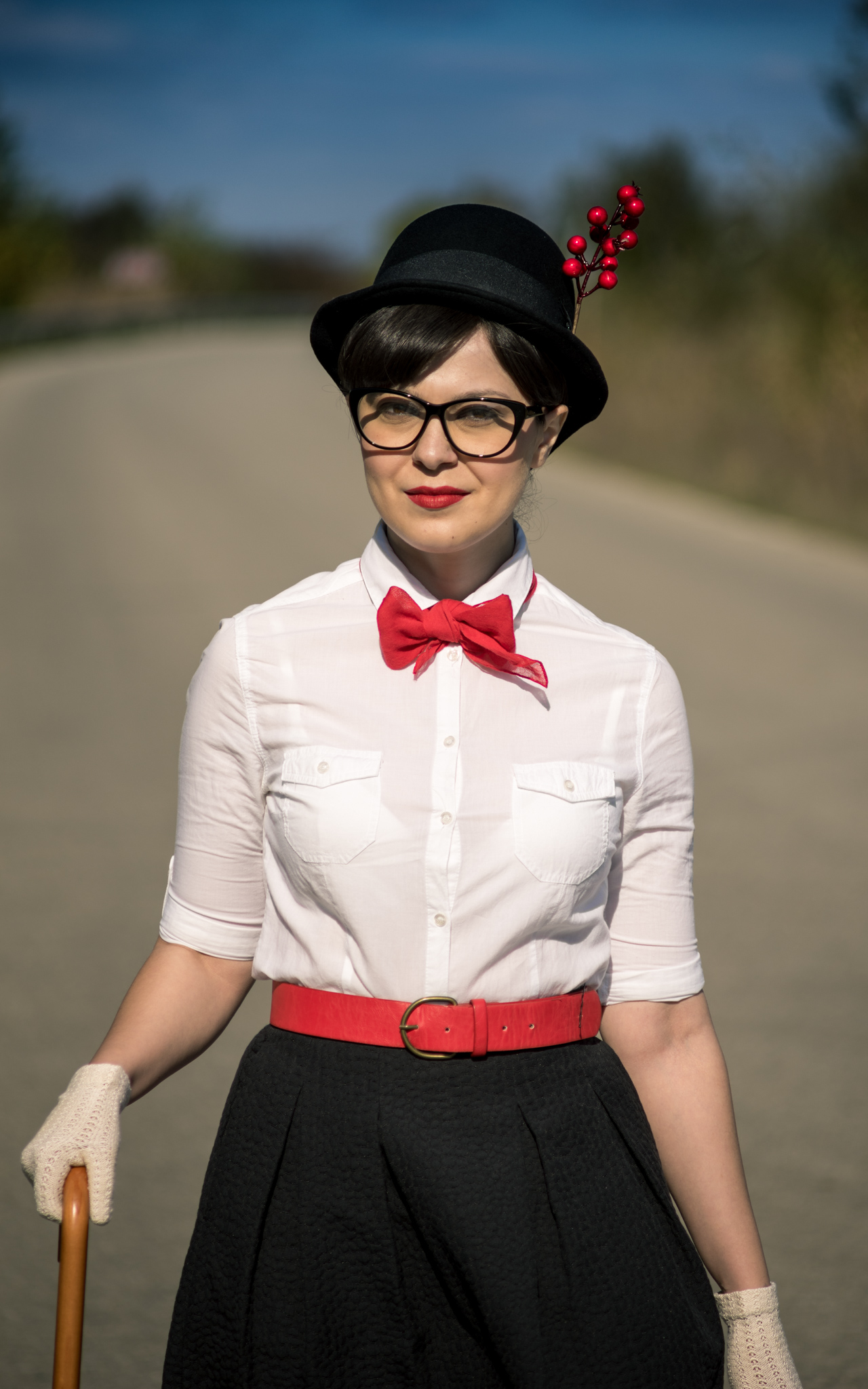 Easy DIY Halloween Costume Mary Poppins white shirt terranova black midi skirt H&M black flats H&M red vintage bag black umbrella tall hat cat eye glasses red belt photoshoot flying