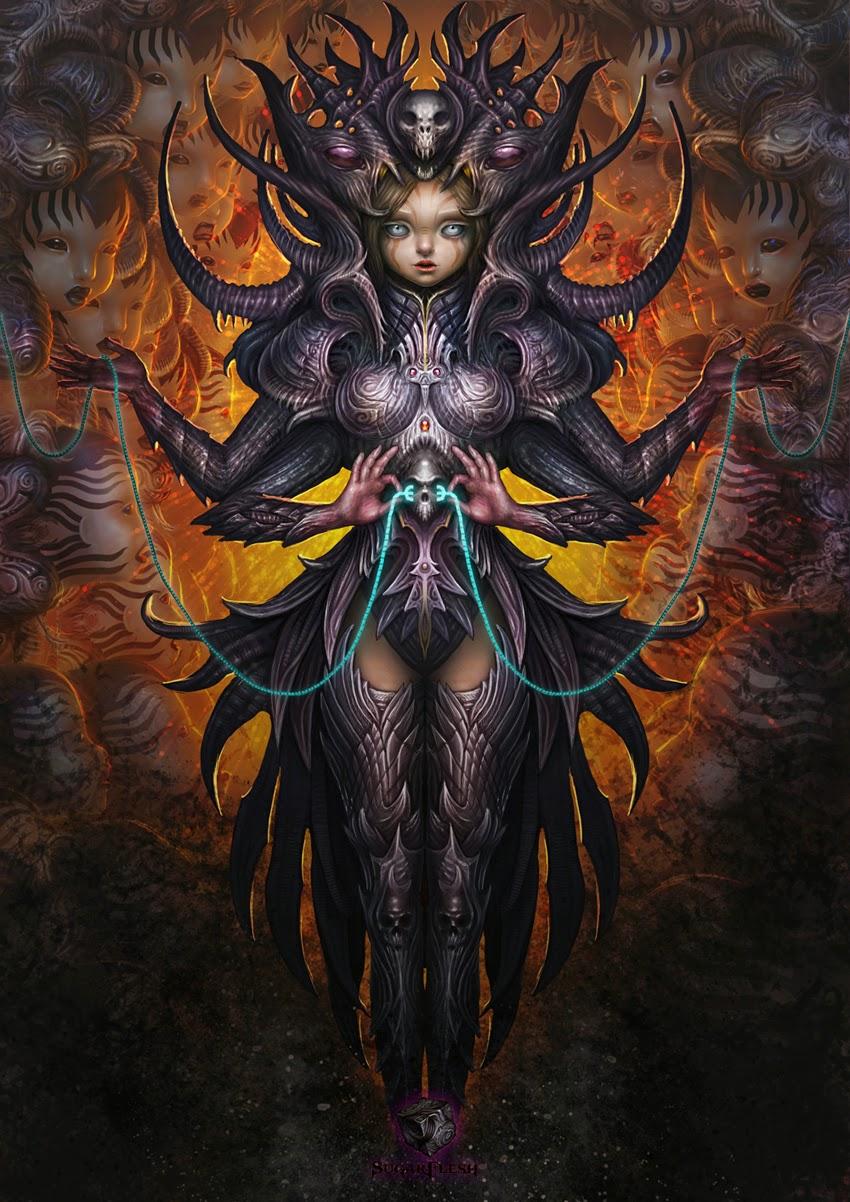 illustration de Martin de Diego Sádaba représentant une sorte de déesse Kali enfantine