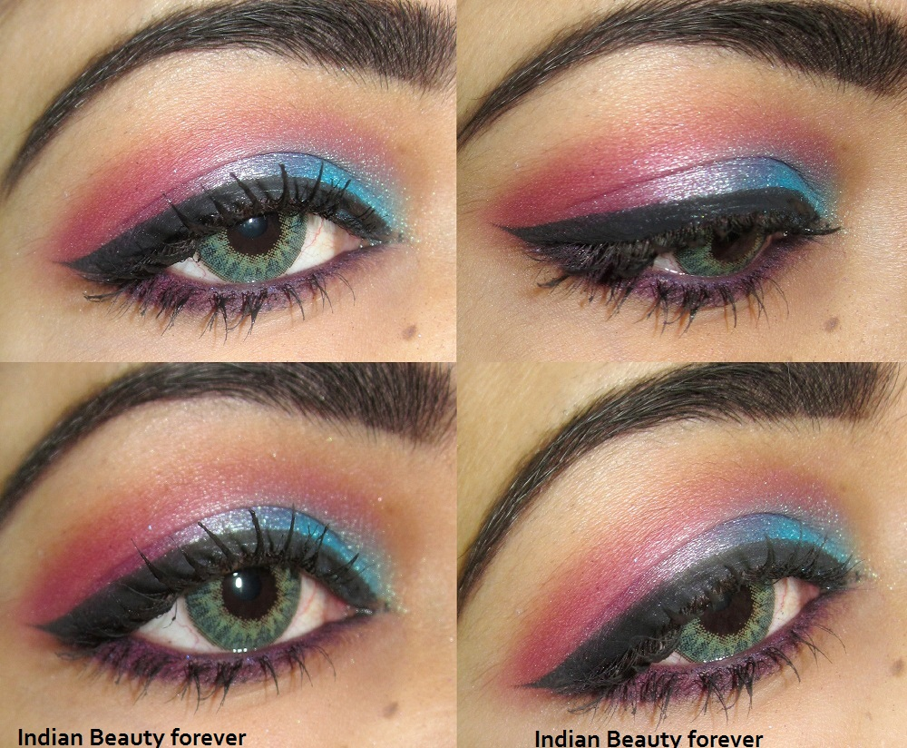 Pink blue colorful eye makeup tutorial with steps indian beauty pink blue colorful eye makeup tutorial with steps baditri Gallery