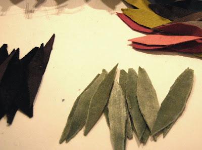 Tiras de terciopelo cortadas en gajos