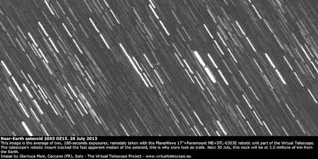 Near-Earth Asteroid 2003 DZ15: 26 July 2013. Credit: virtualtelescope.eu