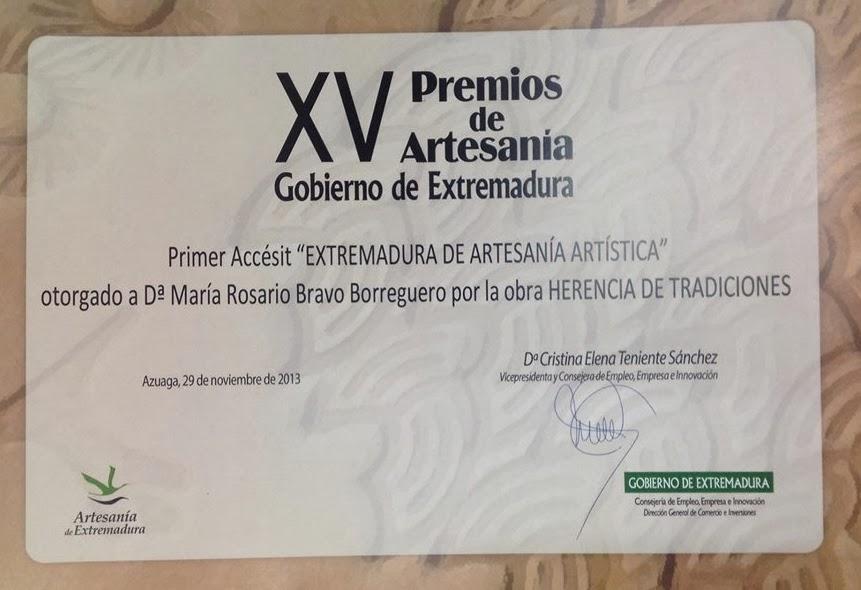 Ganadora Primer Accésit XV Premios de Artesanía Gobierno de Extremadura