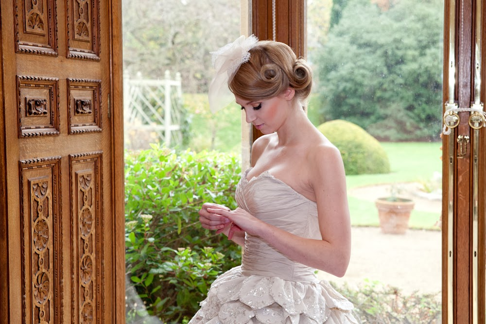 Golden glamour vintage bride at manor by the lake for a styled wedding shoot