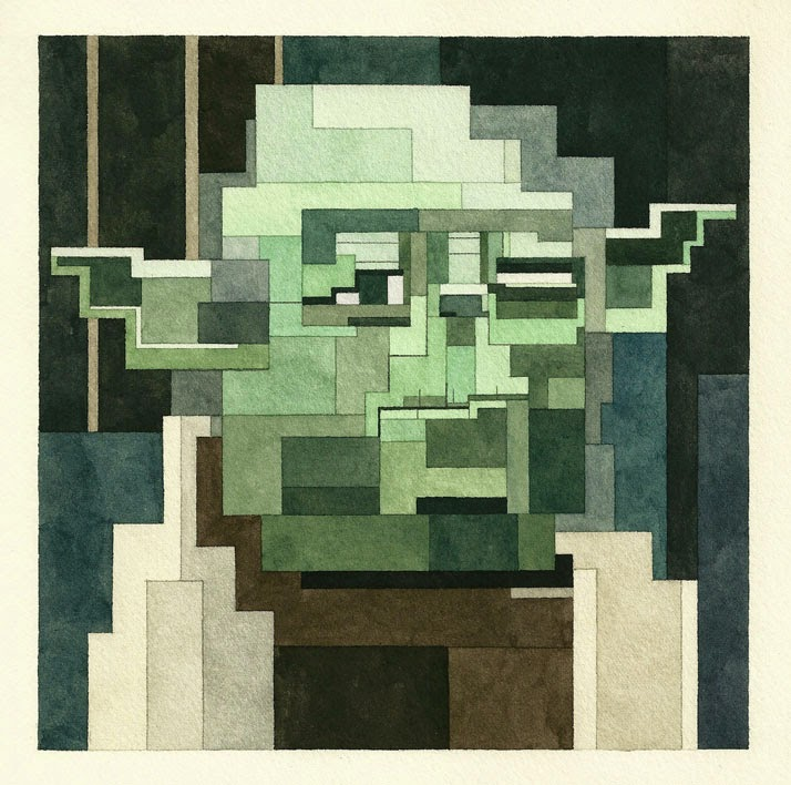 Adam Lister, acuarelas 8 bits, Yoda