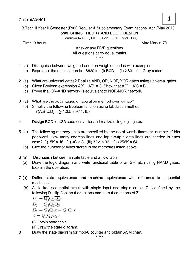 S nagarajmtechmbaphd switching theory logic design thursday july 30 2015 ccuart Image collections
