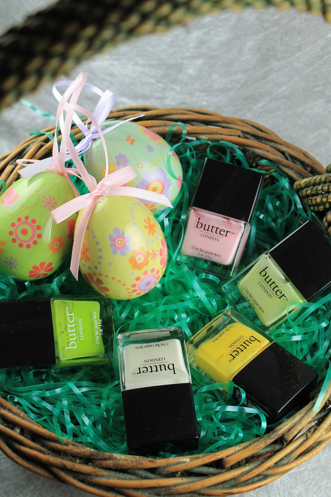 Shine beauty beacon easter basket nail colors transform your shine butter london nail lacquer beauty teddy girl pink bossy boots pale green cheeky chops yellow cream tea white and squatter bright green negle Image collections