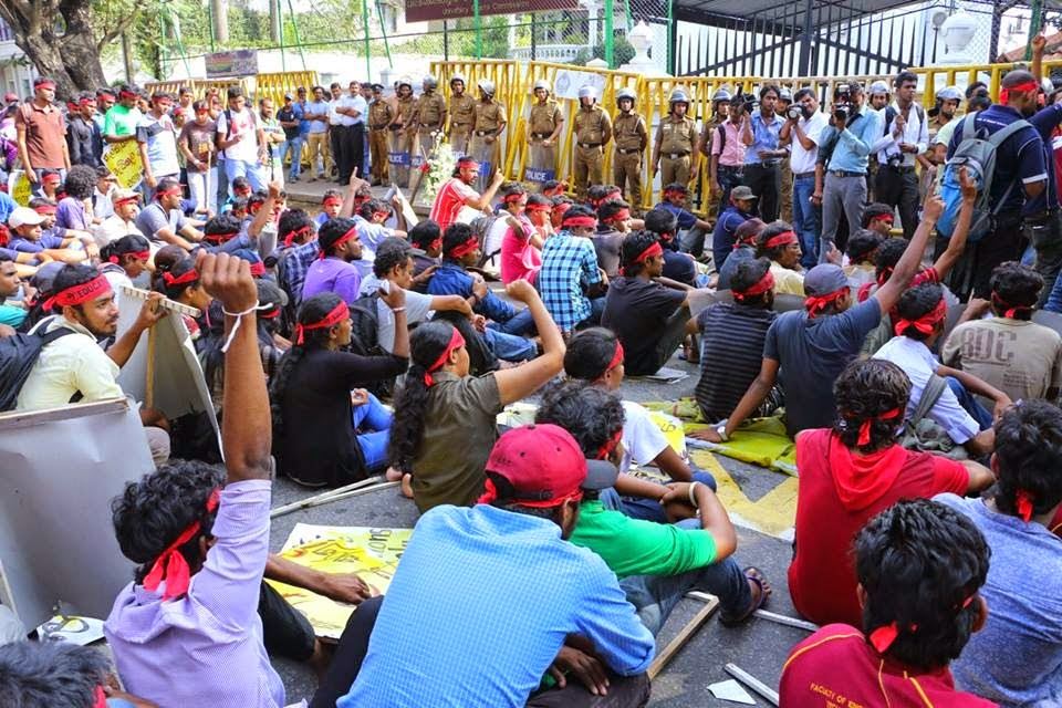Higher National Diploma students in Sri Lanka Protest