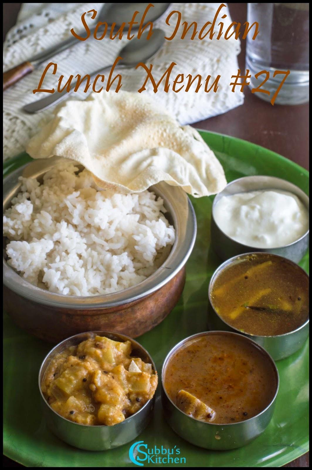 South Indian Lunch Menu 27 - Omam Vendhaya Kuzhambu, Chow Chow kootu, Brinjal Rasam, Rice and Papad