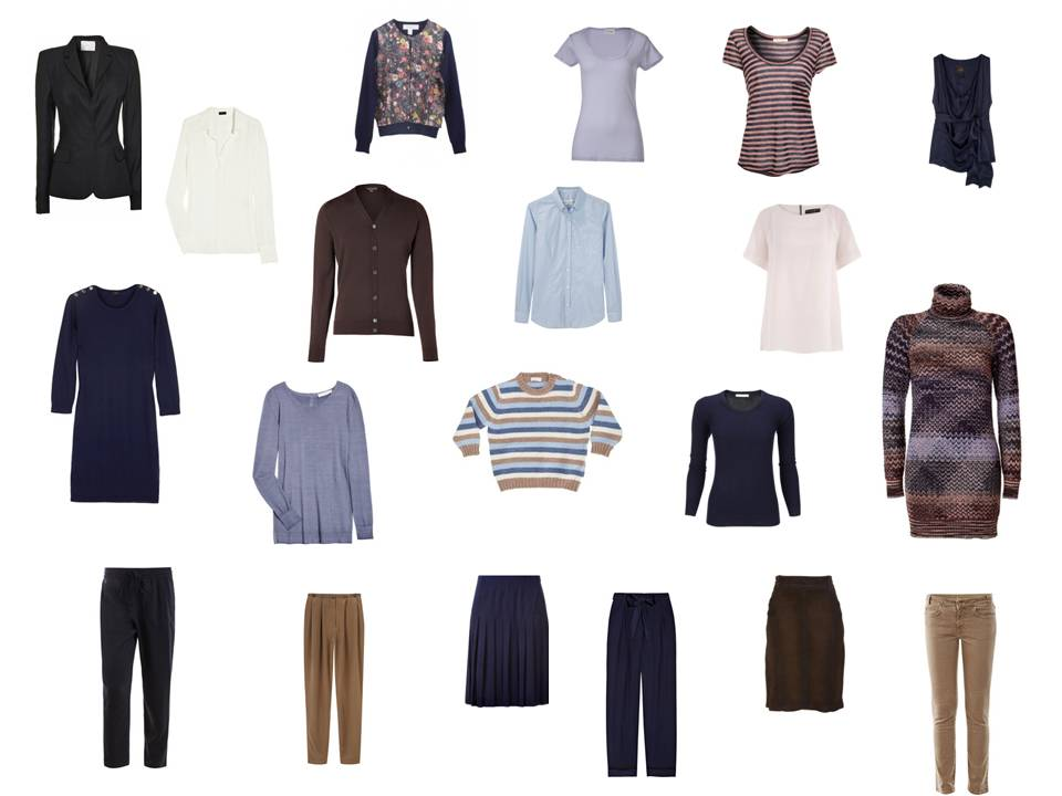 Capsule Wardrobe In Navy Amp Brown With Lavender Accents