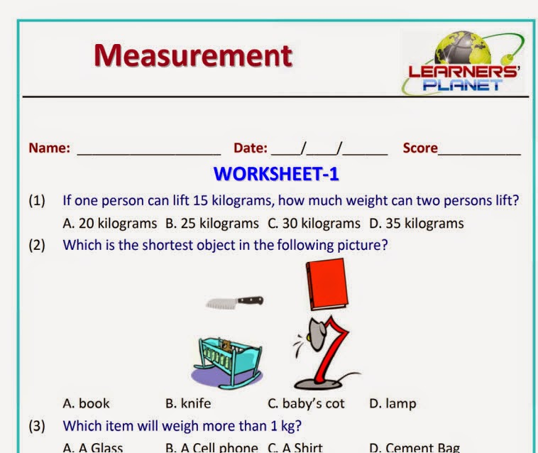 Grade Measurement Worksheets and Printables for grade 1 students – Measurement Worksheets Grade 1