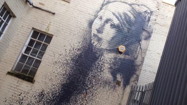 Banksy's New Bristol Work, Pierced Eardrum, Vandalised