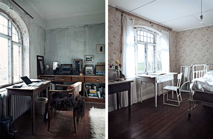 Interior of this old hosue have tons of character - on the first look it  looks like an abandoned place but on a second you find that it is a living  place ...