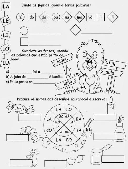 sílabas com L,Atividades com a letra L.Ensino Fundamental, Atividades para imprimir, Alfabetização, Letras, 1º ano.