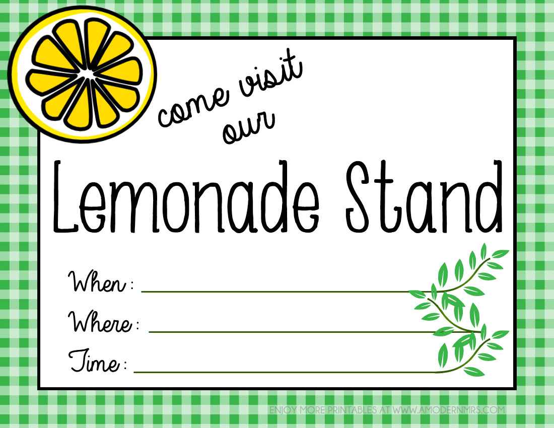 Lemonade Stand Poster Designs : Printable lemonade stand poster menu — a modern mrs