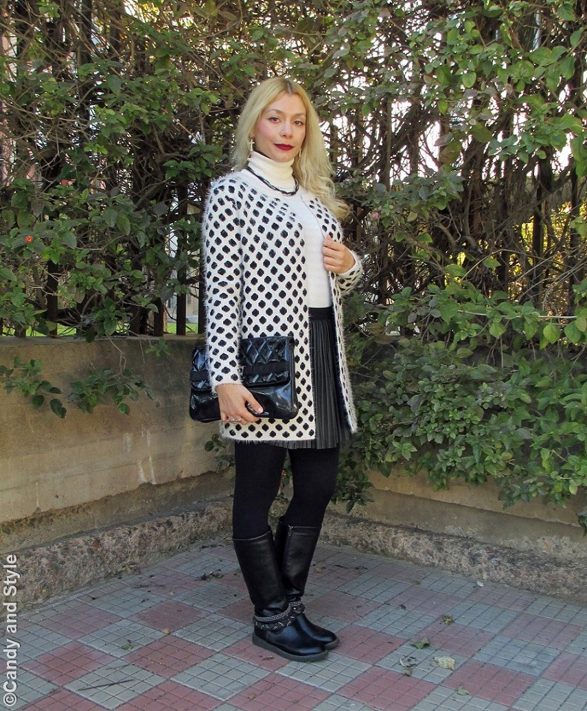 FluffyJacket+TurtleneckSweater+PleatedSkirt+Bikers+Clutch+BerryLips - Lilli Candy and Style Fashion Blog