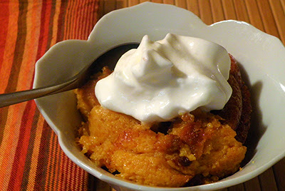 Bowl of Squash Pudding with Whipped Cream