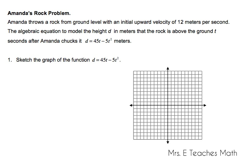 "Going Off on Tangents - quadratic ""word problems"" 