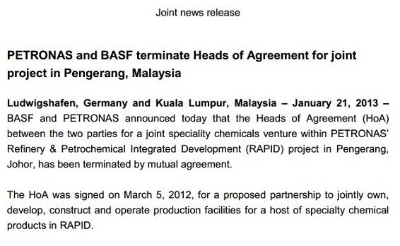 Badische Anilin und Soda Fabrik (BASF) menarik diri dari projek Pembangunan Bersepadu Penapisan Minyak dan Petrokimia (Rapid) di Pengerang, Johor.