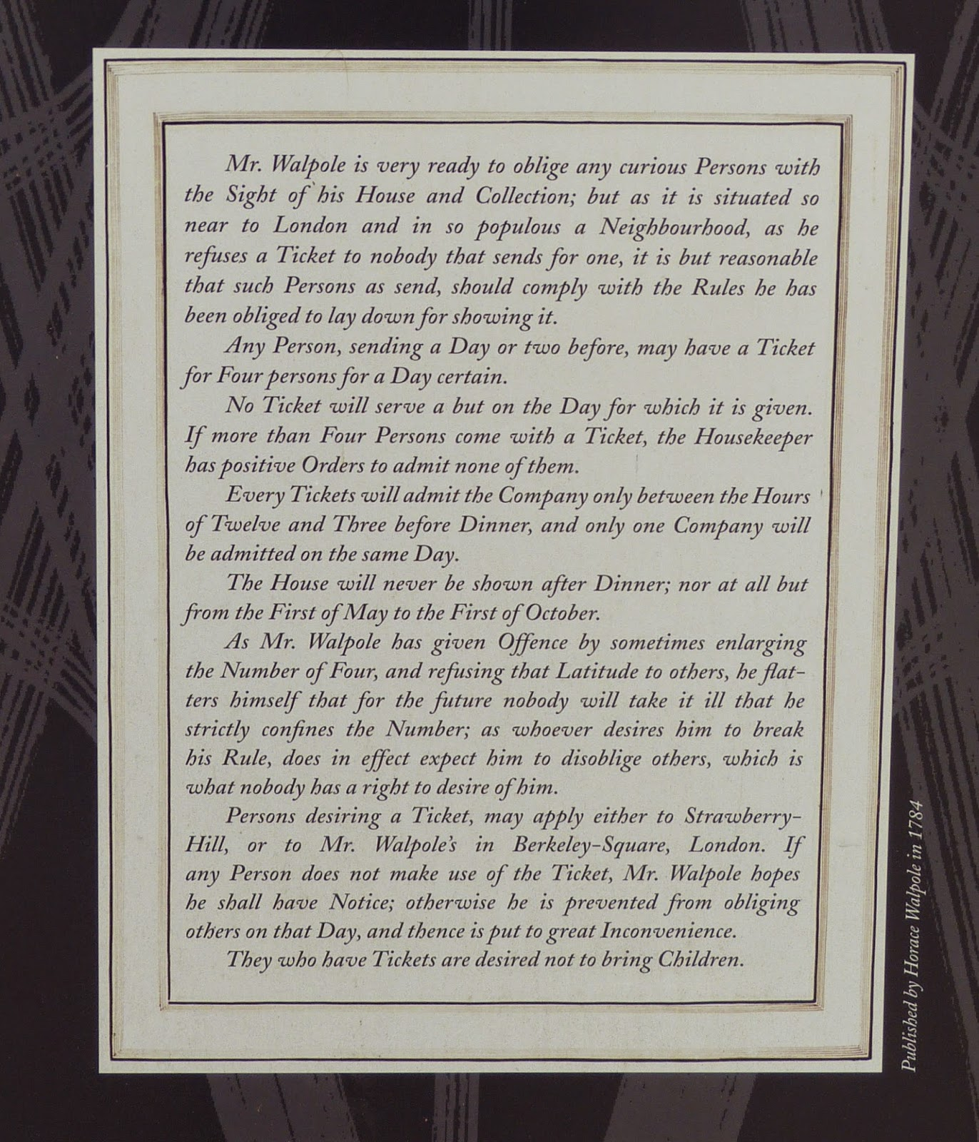 Horace Walpole's rules for viewing Strawberry Hill