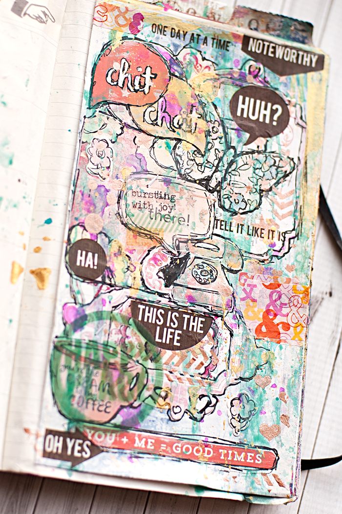 Heather Greenwood Designs | Week 39 The Documented Life Project: Splatters and Drips | using up my stickers in my scrapbook stash | #mixedmedia #artjournal #moleskine