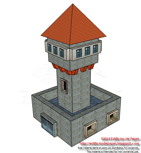 20th century style watchtower paper model