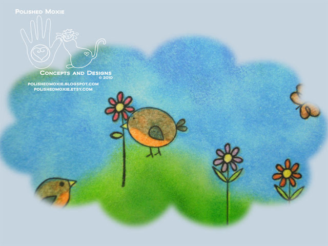 Picture of a section of the image on the front of the robins in springtime card