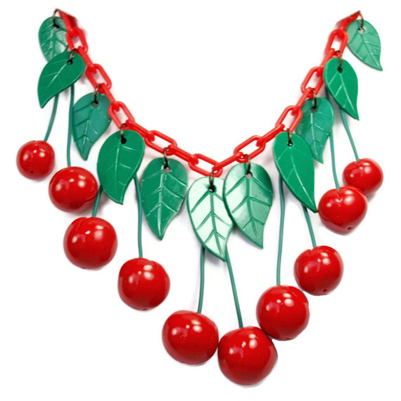Melody OBeau Designs Dangling Red Cherry Bakelite Jewelry and