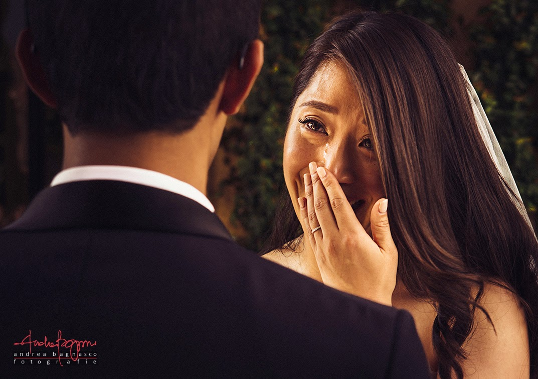 bride gets emotional during wedding vows at Villa del Balbianello, Lake Como Italy