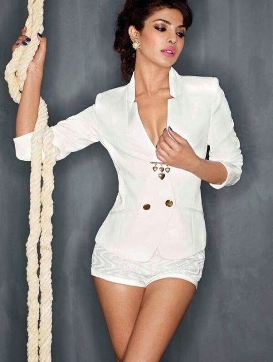 Priyanka Chopra cleavage in white coat and hot pants Maxim Magazine