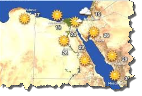 درجات الحرارة المتوقعة على مصر الجمعة 9/1/2015
