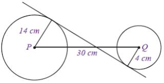 Contoh Soal dan Pembahasan Panjang Garis Singgung Persekutuan Dalam Dua Lingkaran