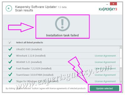 Kaspersky Updater Installation Task Failed
