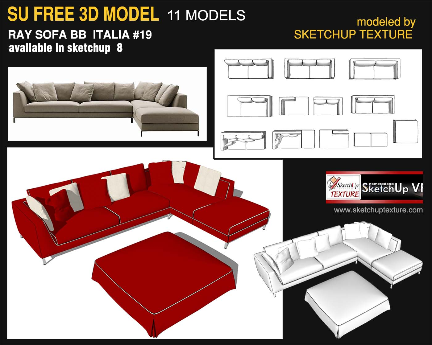 免费Sketchup 3D模型Ray Sofa BB 意大利 通过 skethuptexture.com
