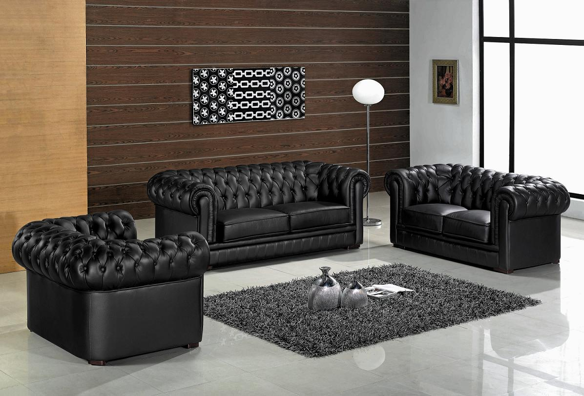 Black Leather Modern Living Room Furniture