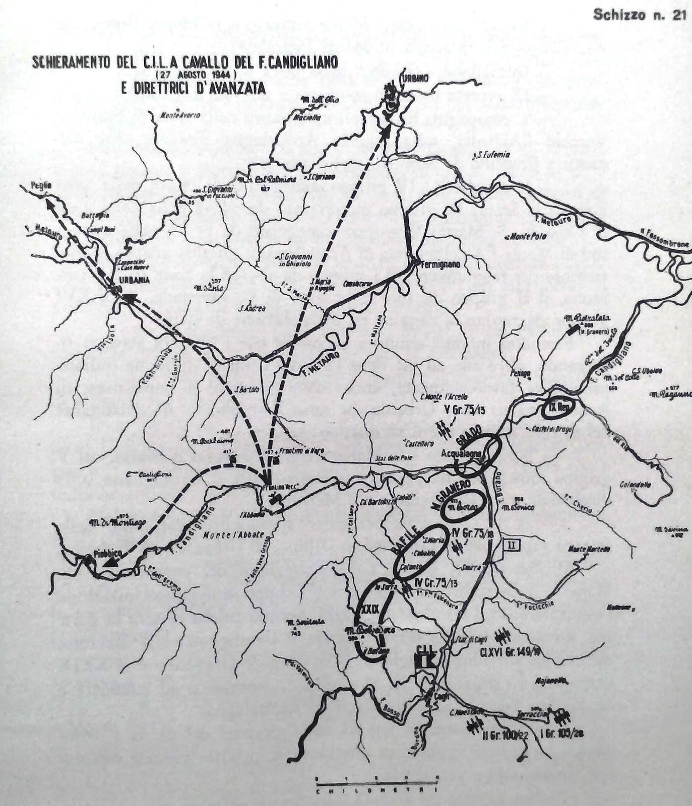 Schieramento del Corpo Italiano di Liberazione. 27 agosto 1944